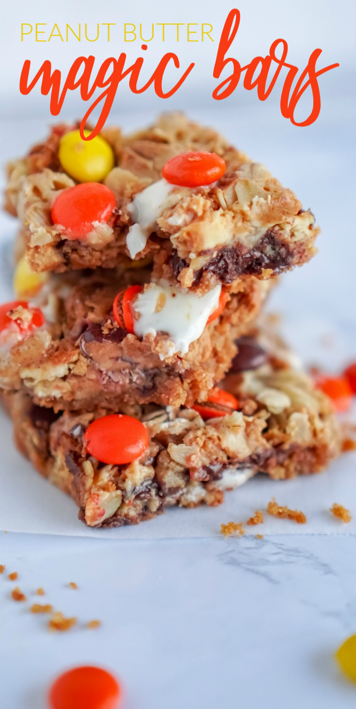 Peanut Butter Magic Bars Reese's Pieces