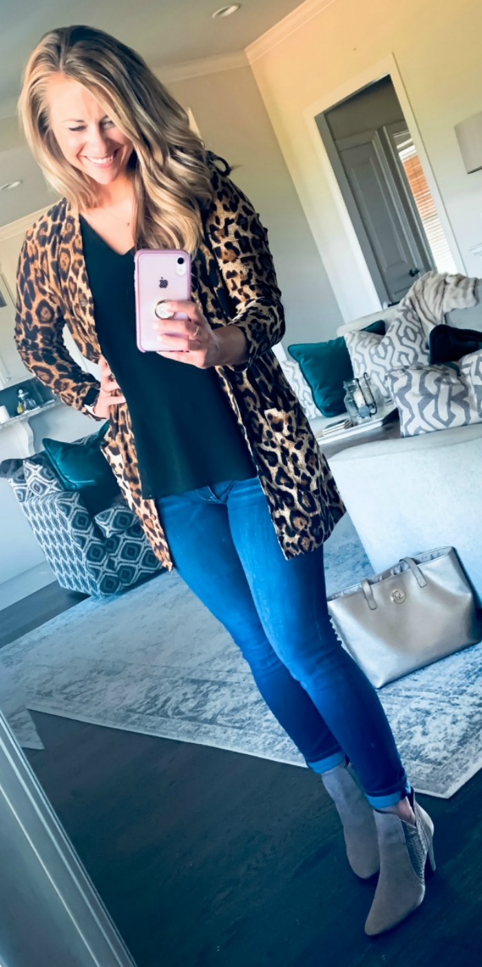 Booties and Leopard Print Cardigan Outfit