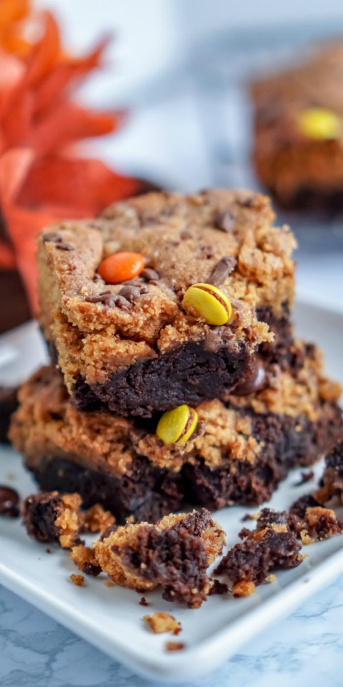 Peanut Butter Pumpkin Brownies for Fall