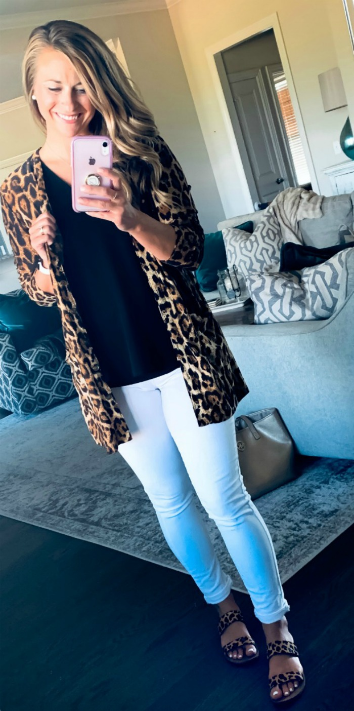 White Jeans and Leopard Print Cardigan Outfit
