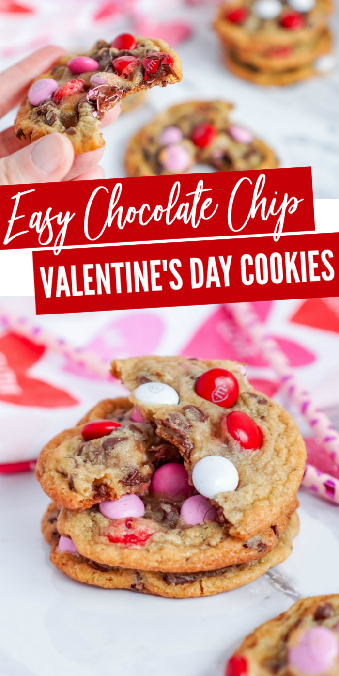 Easy Chocolate Chip Valentine's Day Cookies! The Best M&M Chocolate Chip Cookies for Galentine's Day! The perfect (and Easy) Holiday Dessert Recipe! #lemonpeony #valentines #galentines #cookies #recipe #MMcookies #chocoaltechip