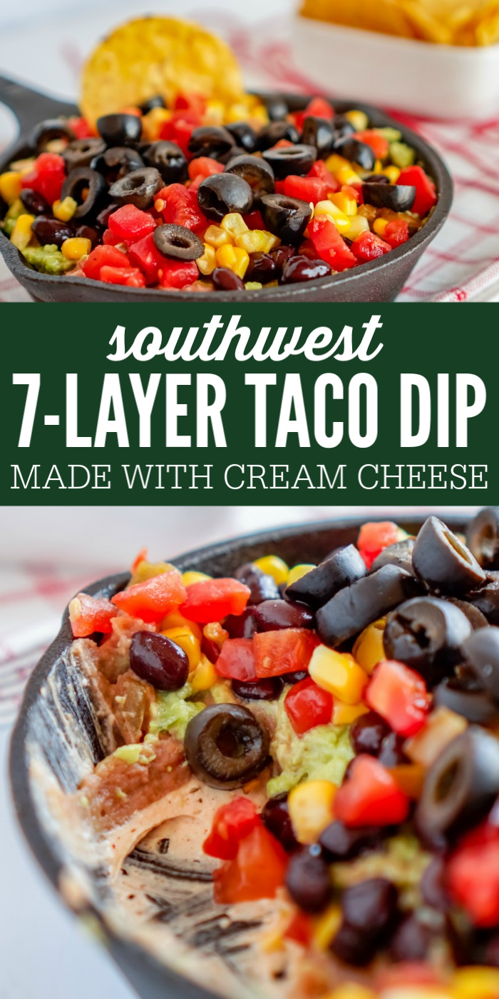 7 Layer Party Dip Recipe! Easy Southwest Taco Dip with Southwest Cream Cheese and Homemade Guacamole! No Sour Cream in this Recipe! The perfect cold dip recipe for an easy Party Appetizer! #lemonpeony #party #dip #appetizer #taco #southwest