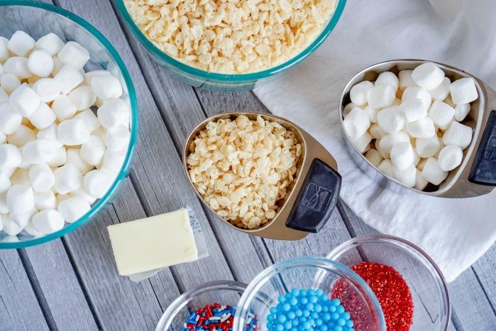 4th of July Star Rice Krispies Treats Recipe Ingredients