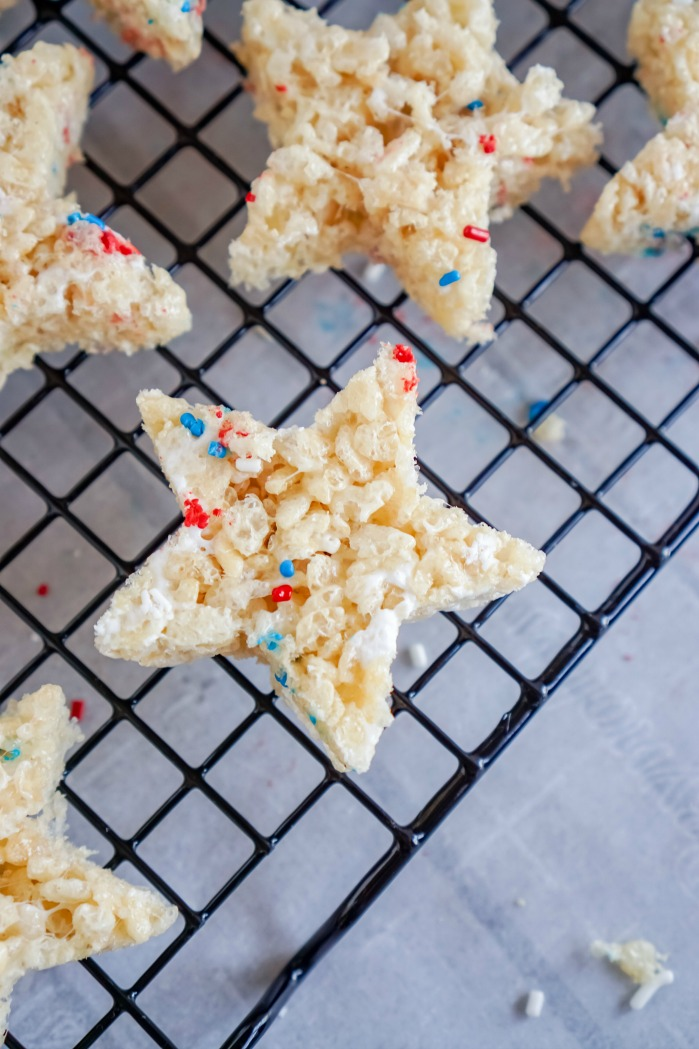 4th of July Star Rice Krispies Treats Recipe on Cooling Rack