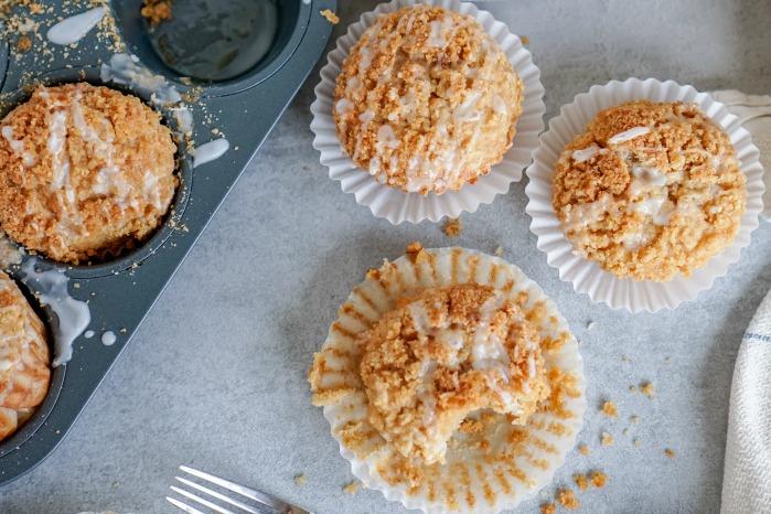 Banana Bread Muffins with Crumb Easy Recipe Three on Tray