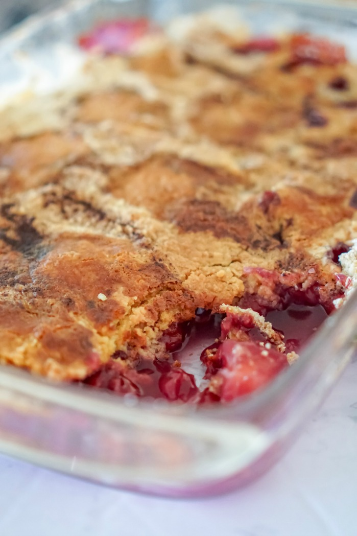 Cherry Dump Cake with Pineapple in Pan