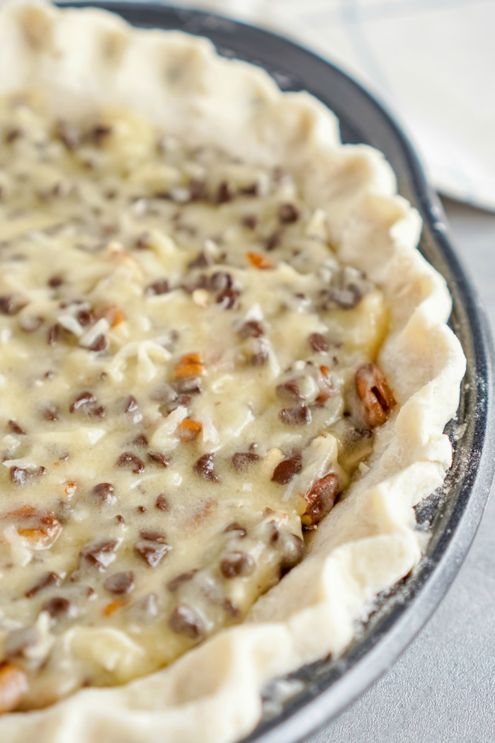 Chocolate Chip Pie with Coconut and Pecan