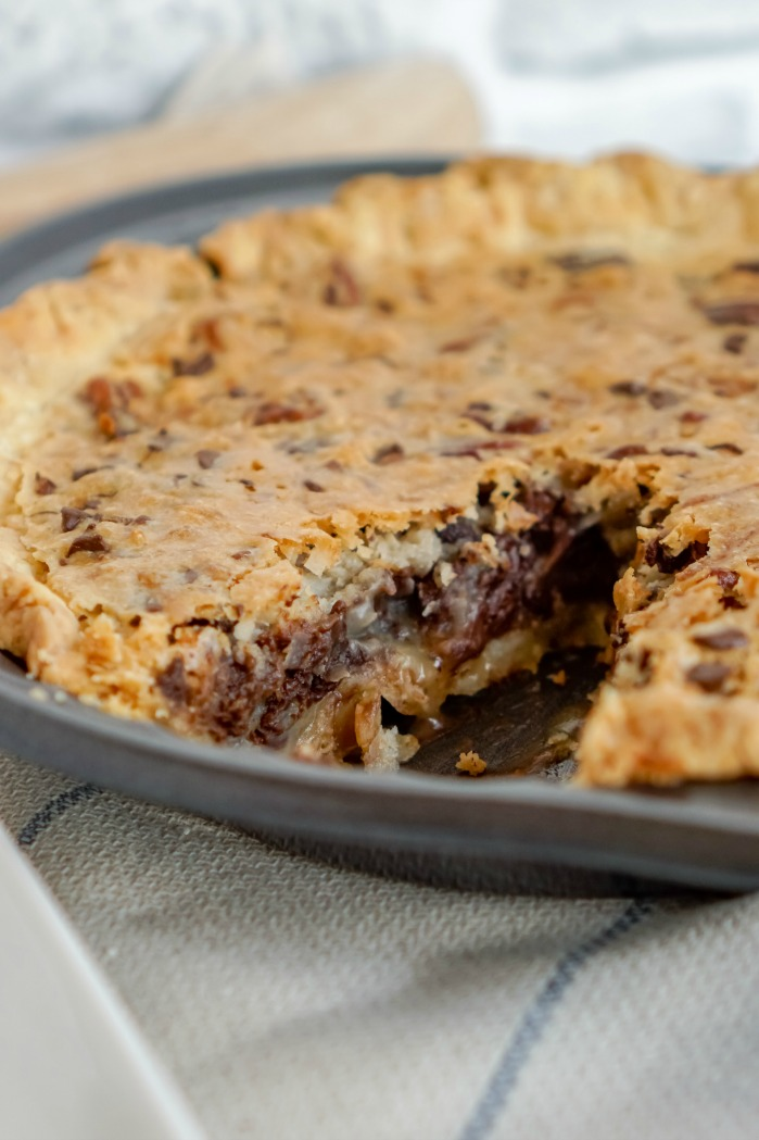 Chocolate Chip Pie with Slice out of