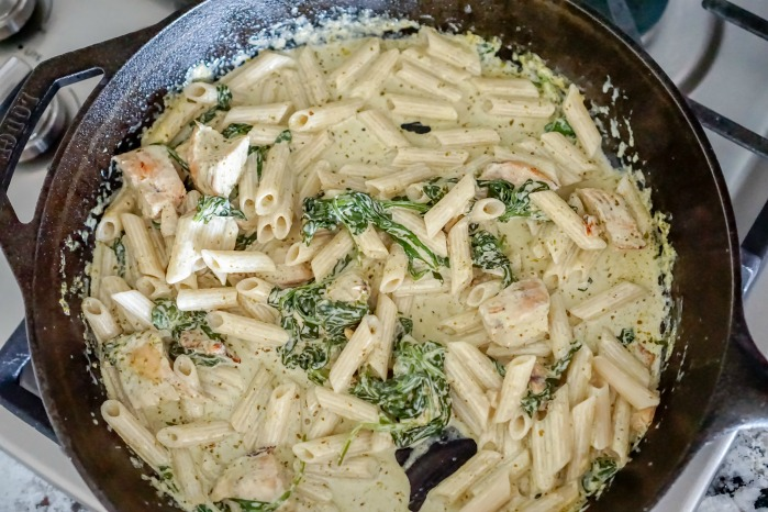 Creamy Chicken Pesto Pasta Recipe in Cast Iron Pan
