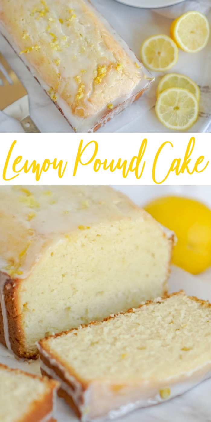 Lemon Pound Cake from Scratch cut on a plate