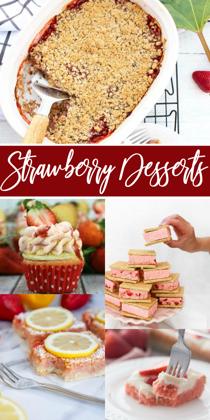 Easy Strawberry Desserts! The Best Strawberry Dessert Recipes for Summer, 4th of July, Barbecues, Valentine's Day, or anytime! Cupcakes, Ice Cream Sandwiches, Strawberry Brownies, Strawberry Lemon Bars, Cupcakes, Cake, and More! #lemonpeony #strawberry #desserts #recipes #cupcakes #brownies #cake #bars #icecream