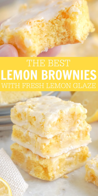 Stacked Lemon Brownies and a Bite out of one
