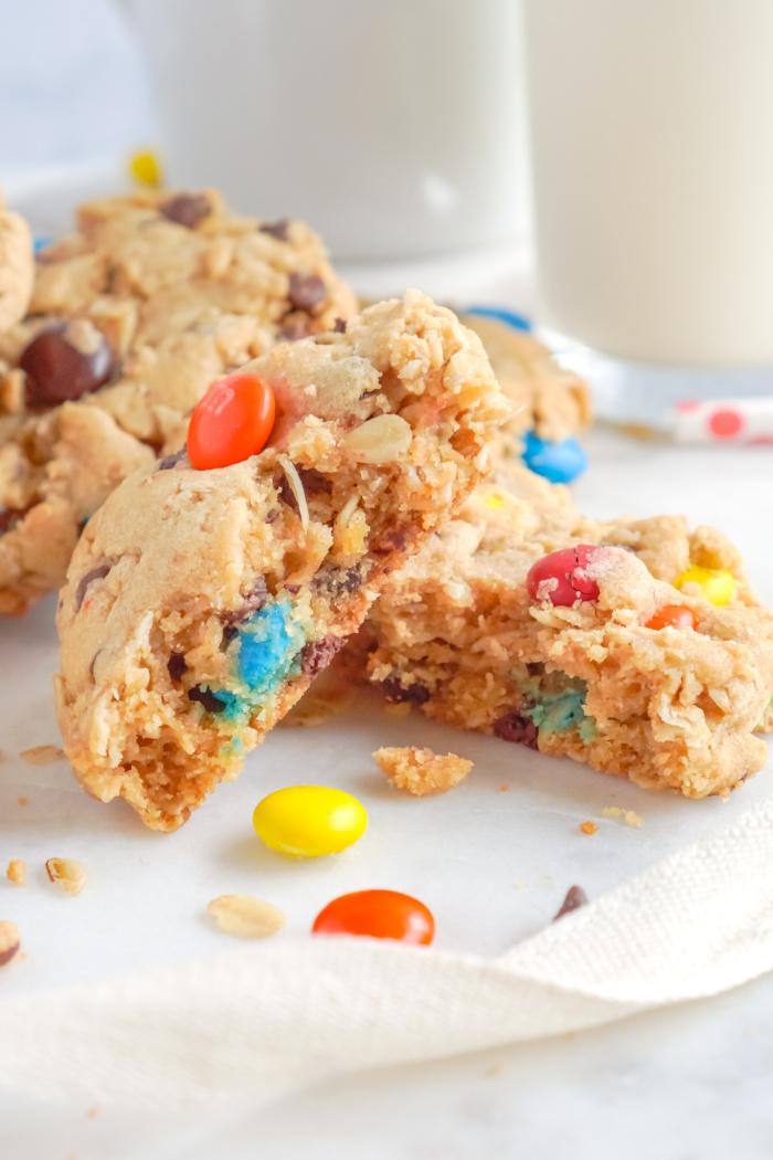 Easy Monster Cookies Broken in Half on Plate