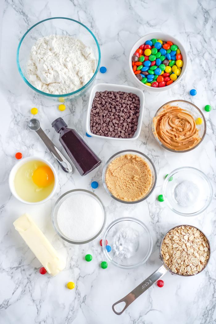 Monster Cookie Ingredients in Bowls