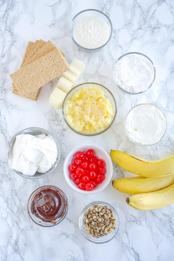 No Bake Banana Split Pie Ingredients