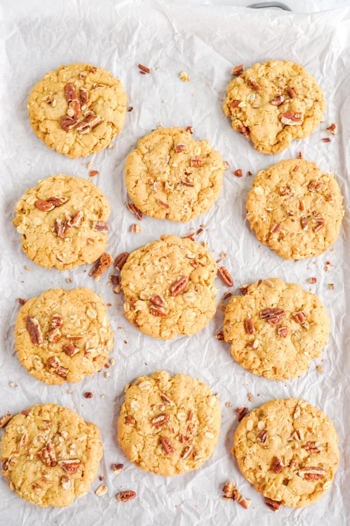 Pan of pumpkin oatmeal cookies