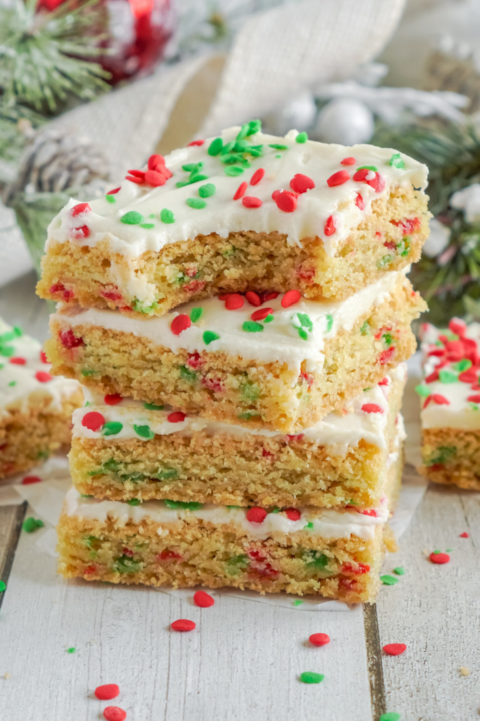 Four stacked sugar cookie bars