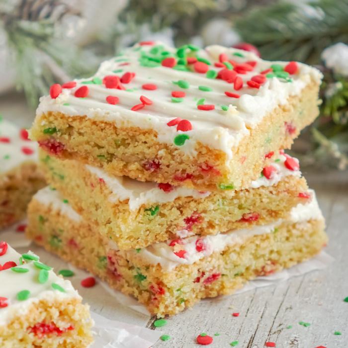 Three stacked sugar cookie bars