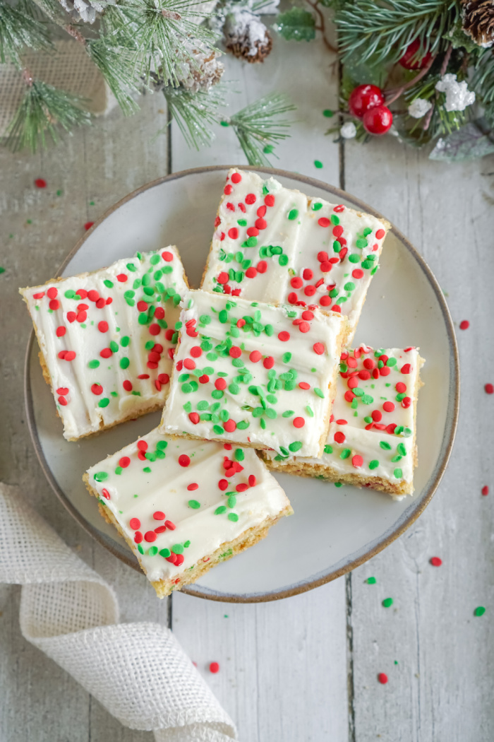 Sugar cookie bars on plate