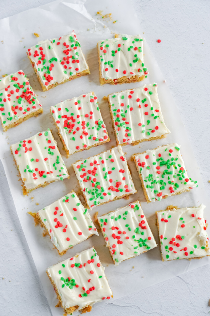 Cookie bar cut into squares
