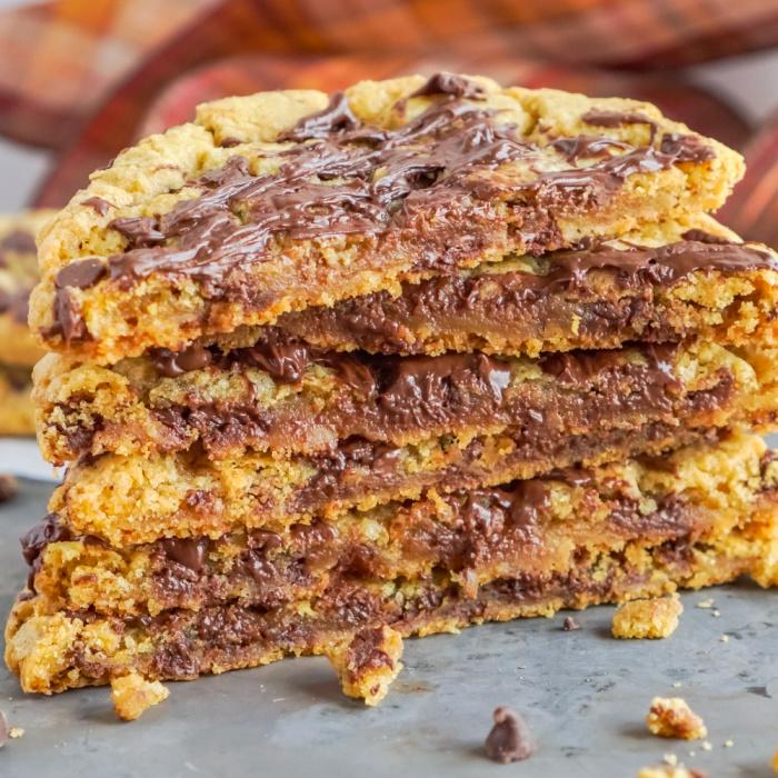 Stack of cookies sliced