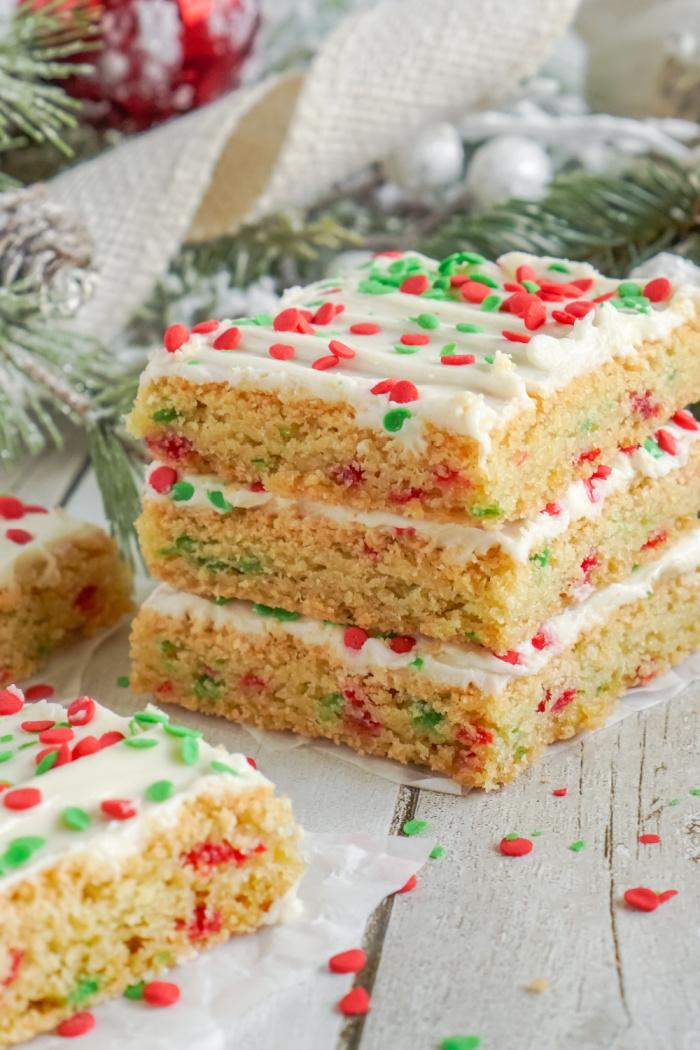 Three sugar cookie bars stacked