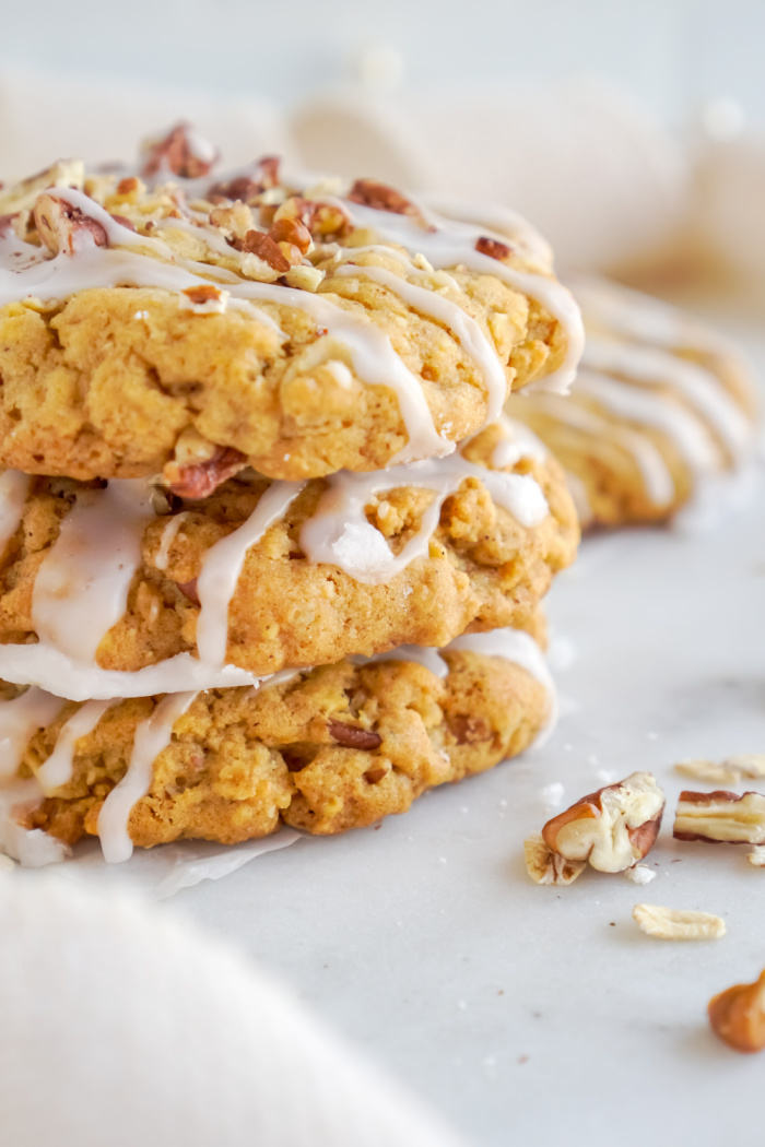 Close up stack of pumpkin oatmeal cookies