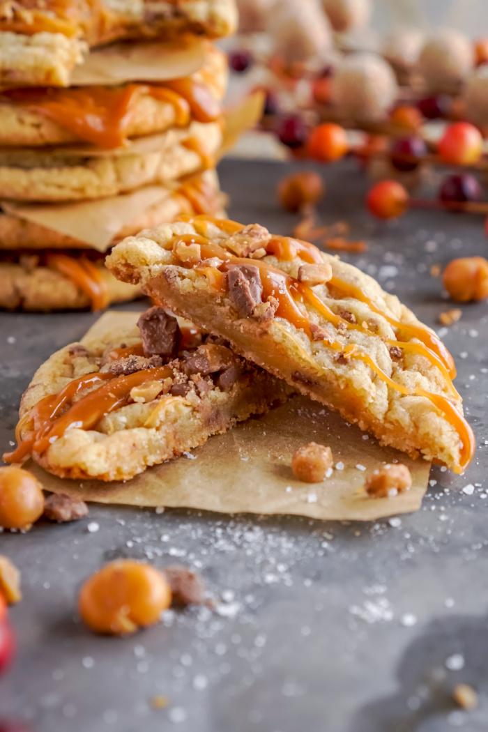 Salted caramel toffee cookie cut in half