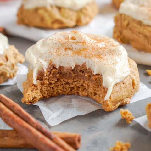 Pumpkin Cake Mix Cookies with Cinnamon Cream Cheese Frosting