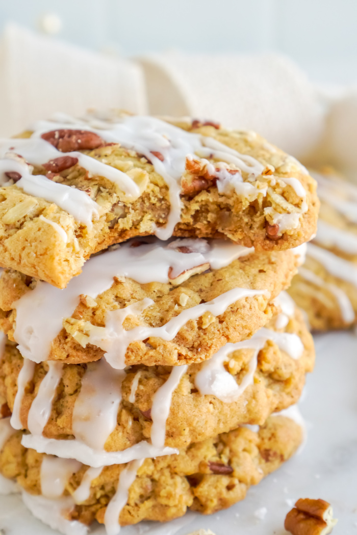 Bite out of pumpkin oatmeal cookies