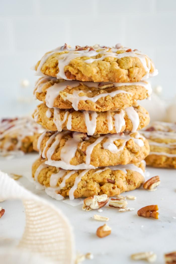 Stack of pumpkin oatmeal cookies