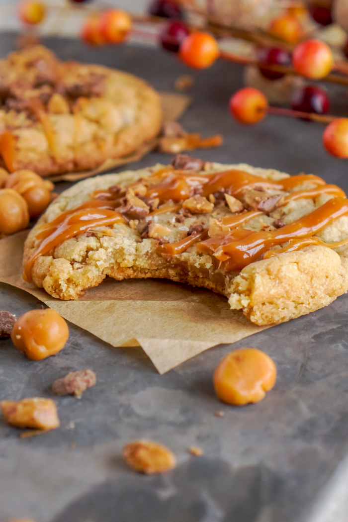Bite of salted caramel toffee cookie