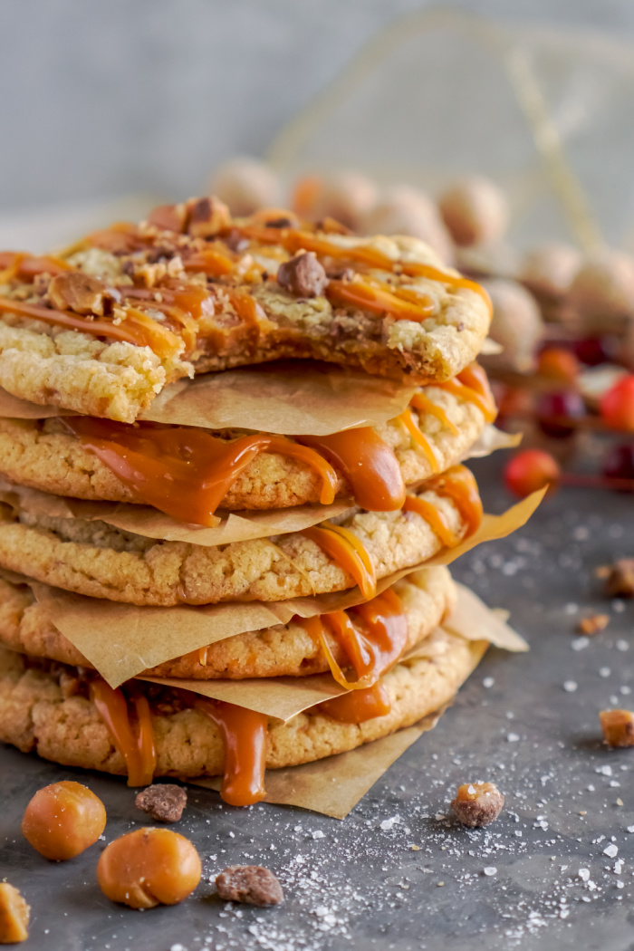 Stack of salted caramel toffee cookies